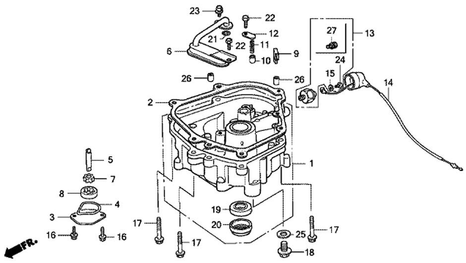 Поддон масляного картера (Oil Pan) мотора Honda BF5 A4 SU.