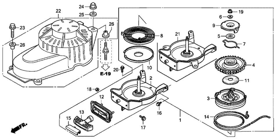 Барабанный стартер лодочного мотора Honda BF5A4 SU (Recoil