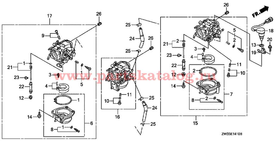 Детали карбюратора Honda BF50 A4 LRTW (Carburetor Parts).