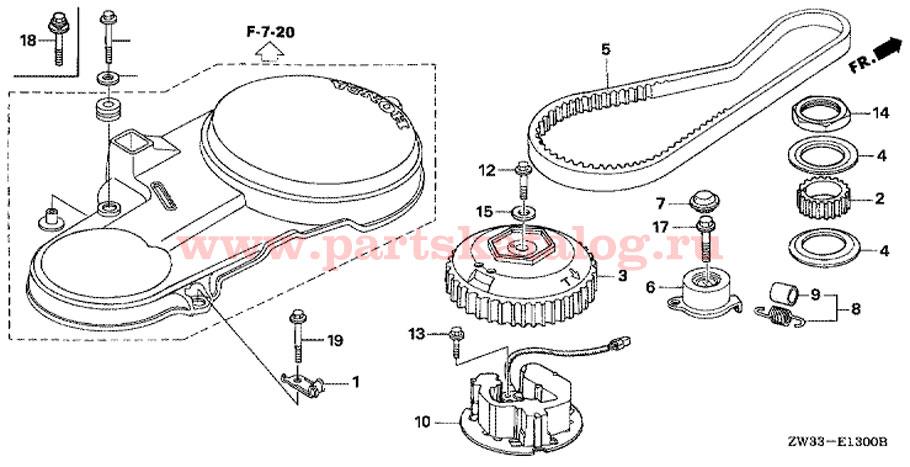 Ремень распредвала двигателя Honda BF50 A4 LRTW (Timing Belt).
