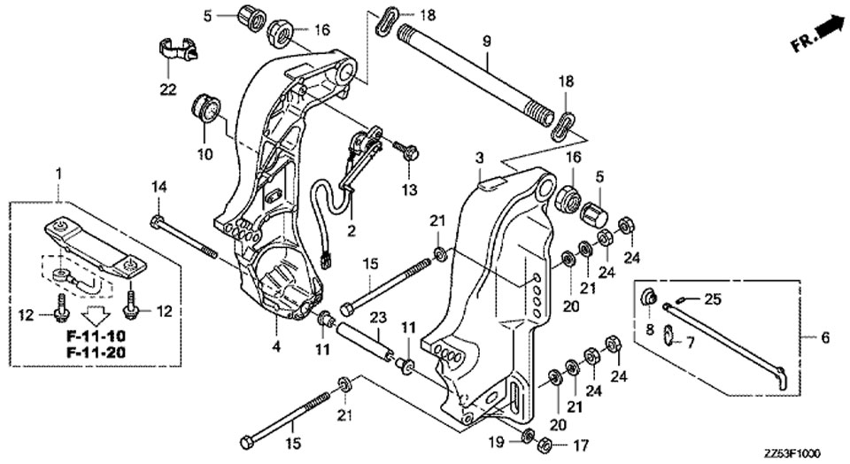 Кронштейн транца (Stern Bracket) двигателя Honda BF50 D LRTU.