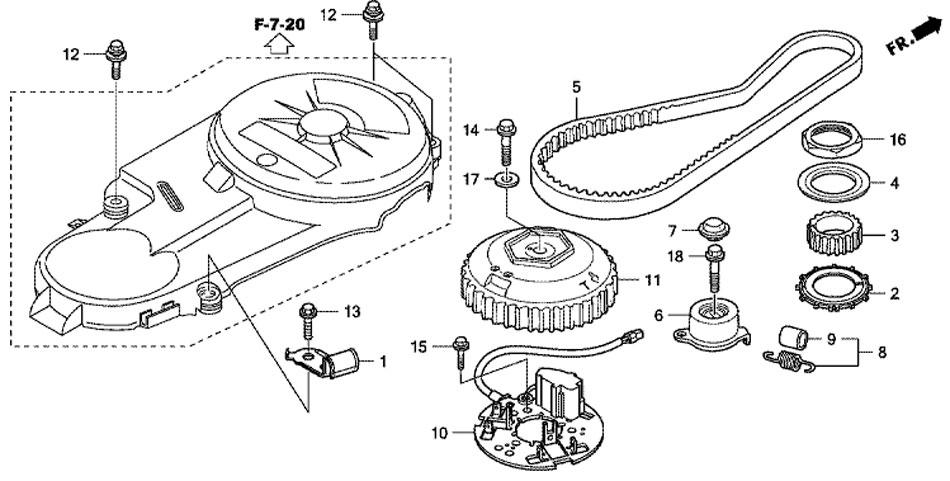 Ремень распредвала (Timing Belt) для мотора Honda BF50 D LRTU.