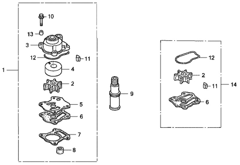 Комплект центробежного насоса (Water Pump Kit) лодочного