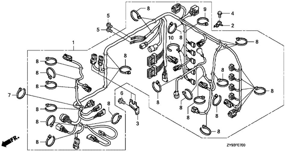 Главный жгут проводов двигателя Honda BF90 DK0 LRTU