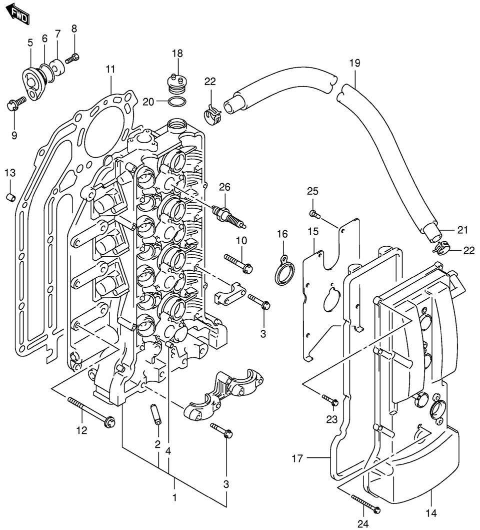 Головка блока цилиндров Suzuki DF115 TLK9 E1 K9 (Cylinder