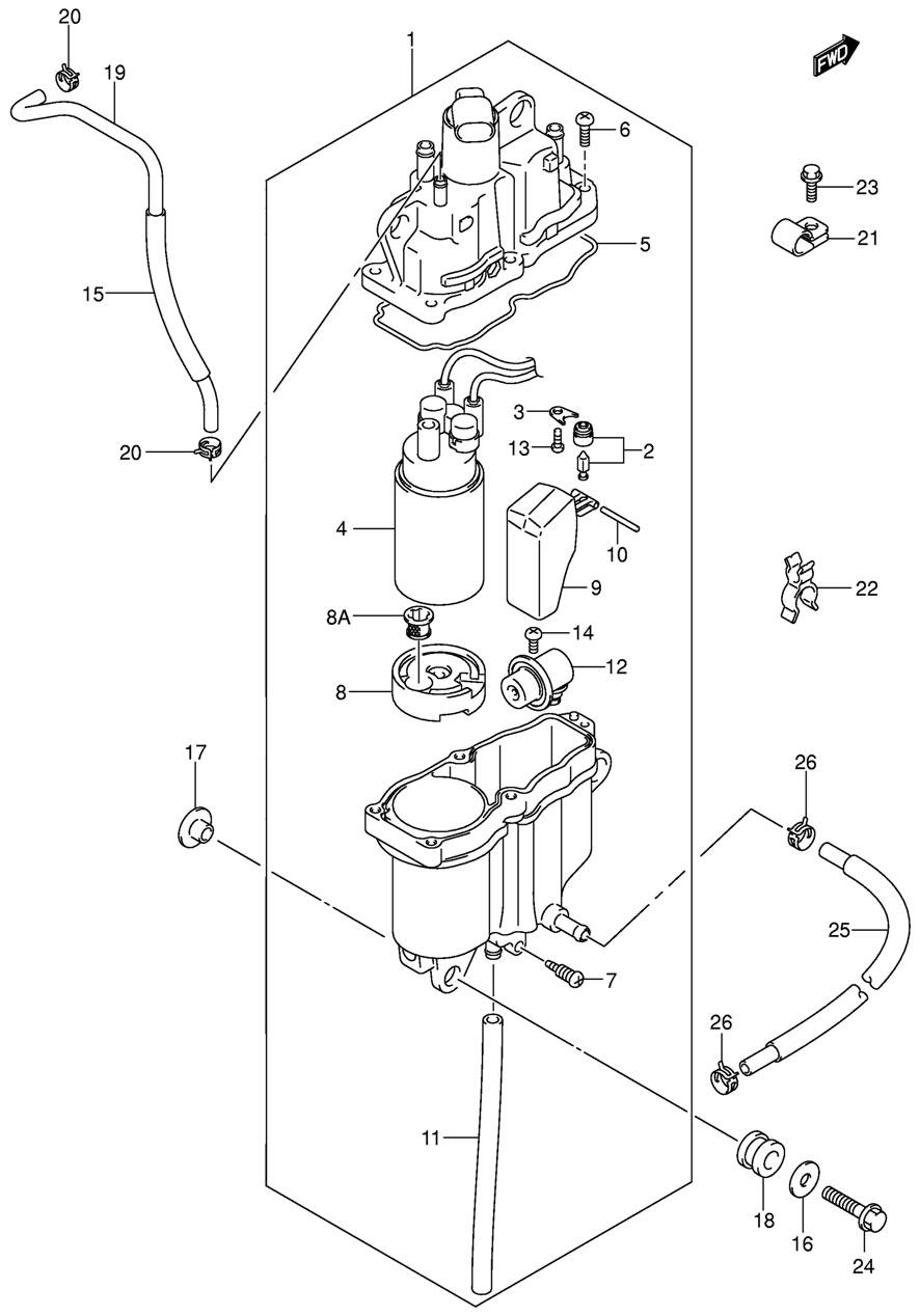 Отделитель паров топлива для лодочного мотора Suzuki