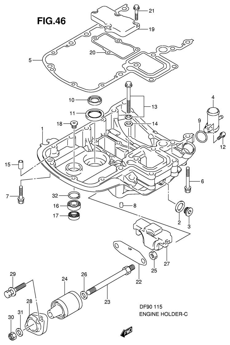 Основание двигателя Suzuki DF115 TL K9 E1 K9 (модели DF90