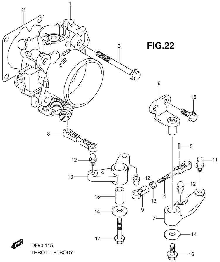 Дроссель газа мотора Suzuki DF115TLK9 E1 K9 (Throttle Body).
