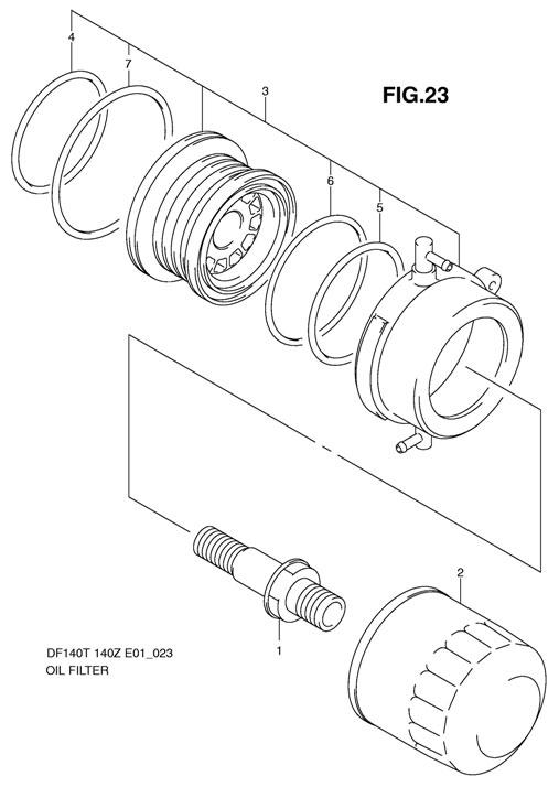 Масляный фильтр на лодочный двигатель Suzuki DF140 TL K11