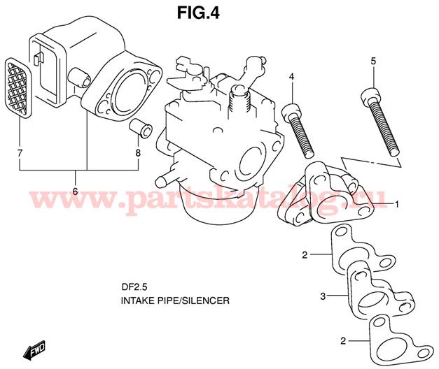 Впускная труба двигателя Suzuki DF2.5 SK11 P1 K11 2009 и