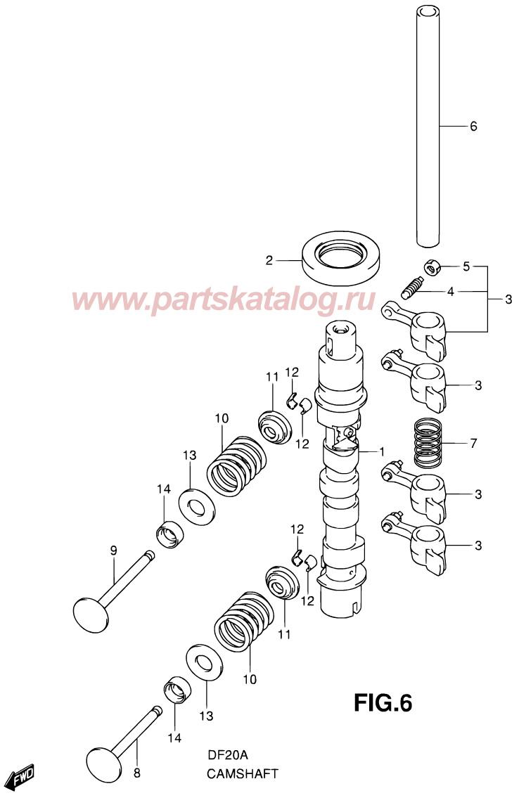 Распределительный вал (Camshaft) на Suzuki DF9.9B P01