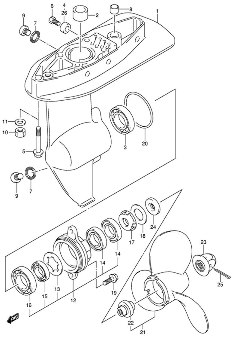 Картер коробки передач (модели лодочных моторов Suzuki DF4