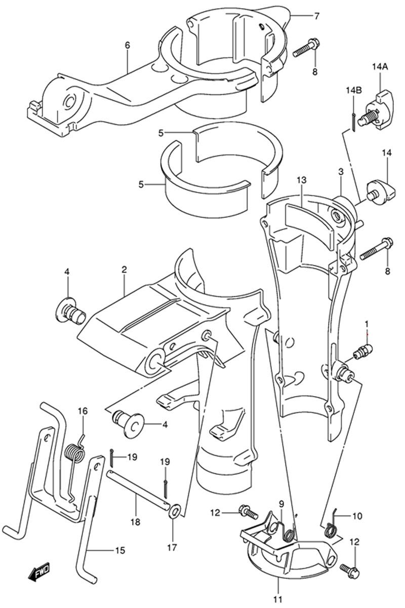 Шарниры кронштейна (Swivel Bracket) для Suzuki DF4 TK9
