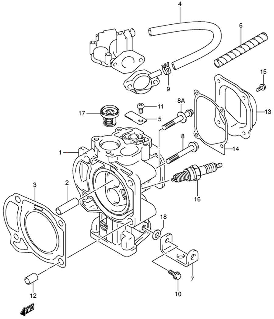 Головка блока цилиндров лодочного мотора Suzuki DF4 TK9