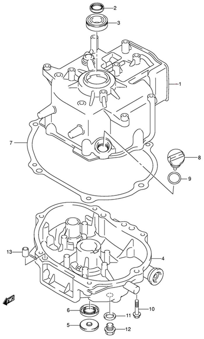 Блок цилиндра лодочного двигателя Suzuki DF4TK9