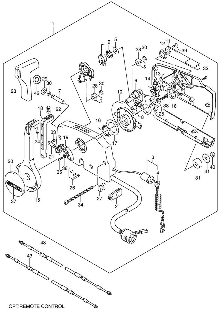 Дистанционное управление на лодочный мотор Suzuki DF5 K9