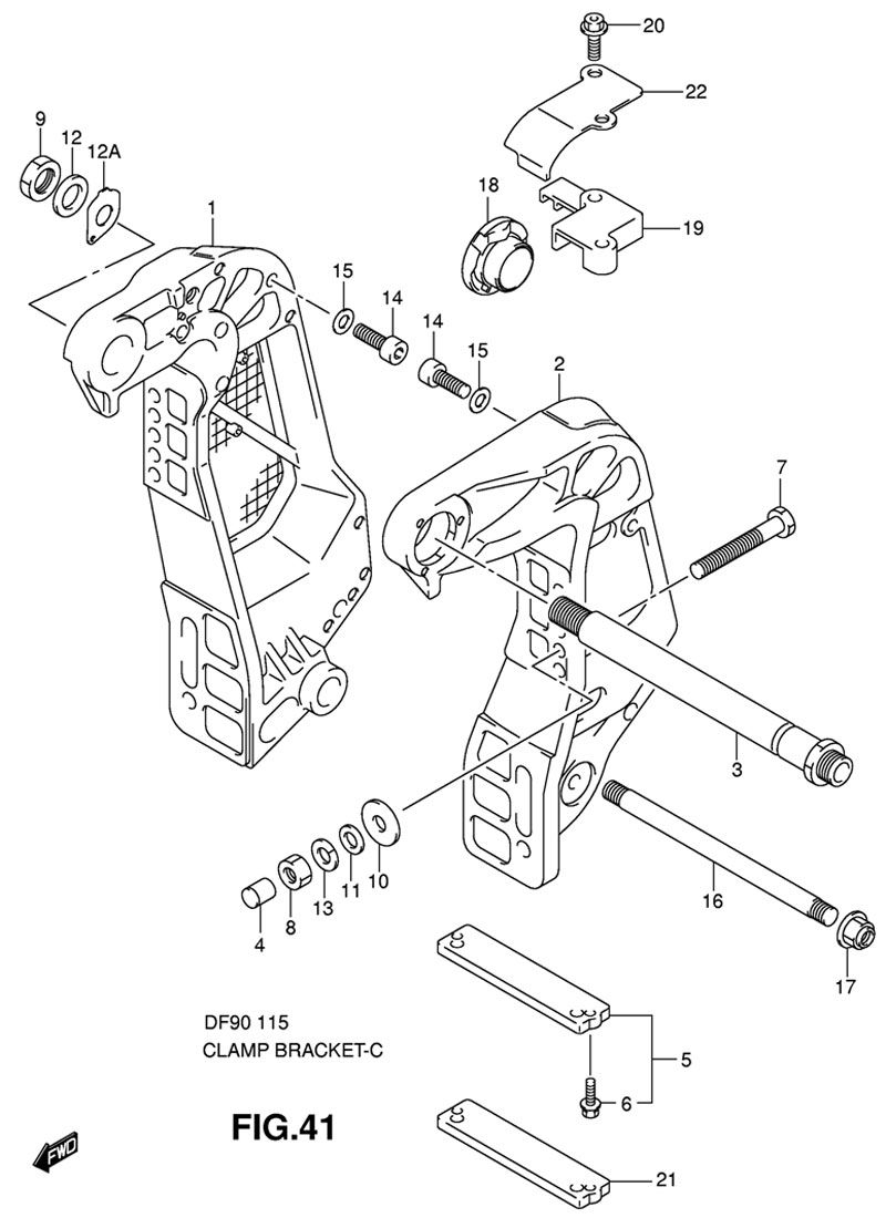 Купить кронштейн транца на двигатель Suzuki DF90TL K8 E1