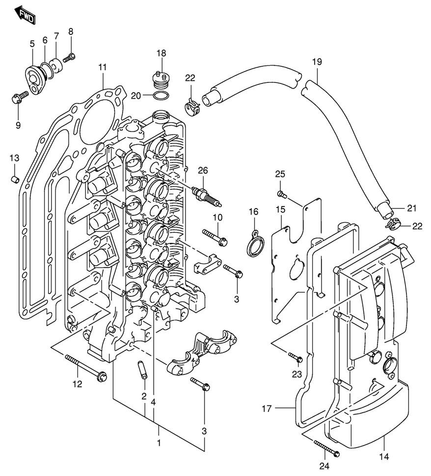 Головка блока цилиндров на двигатель Suzuki DF90 TLK8 E1