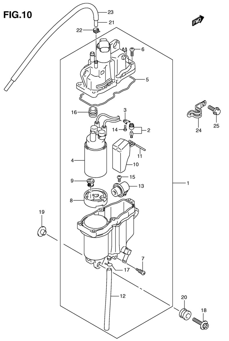Отделитель паров топлива для мотора Suzuki DF90ATL K9 2009