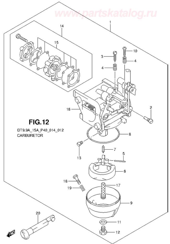 Карбюратор (Carburetor) на лодочный мотор Suzuki DT9.9A