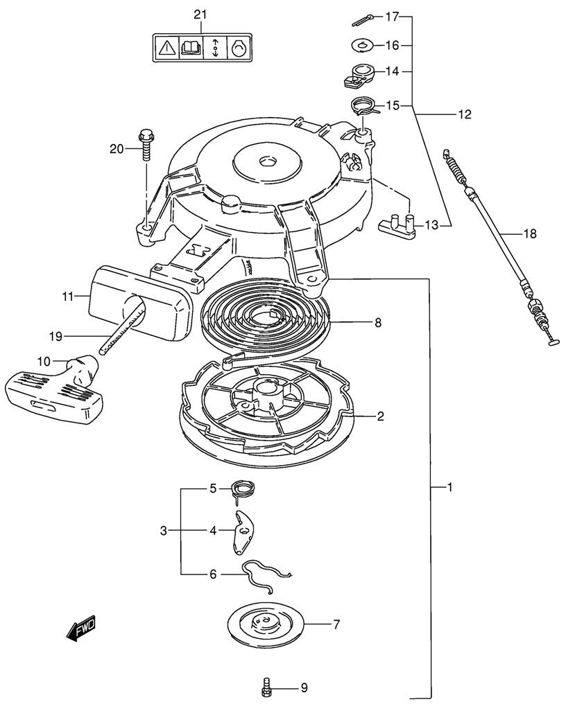 Барабанный стартер мотора Suzuki DT 15 SK9 (Water Pump)