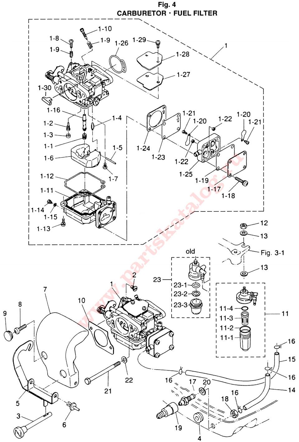 Карбюратор, топливный фильтр на лодочный мотор Tohatsu