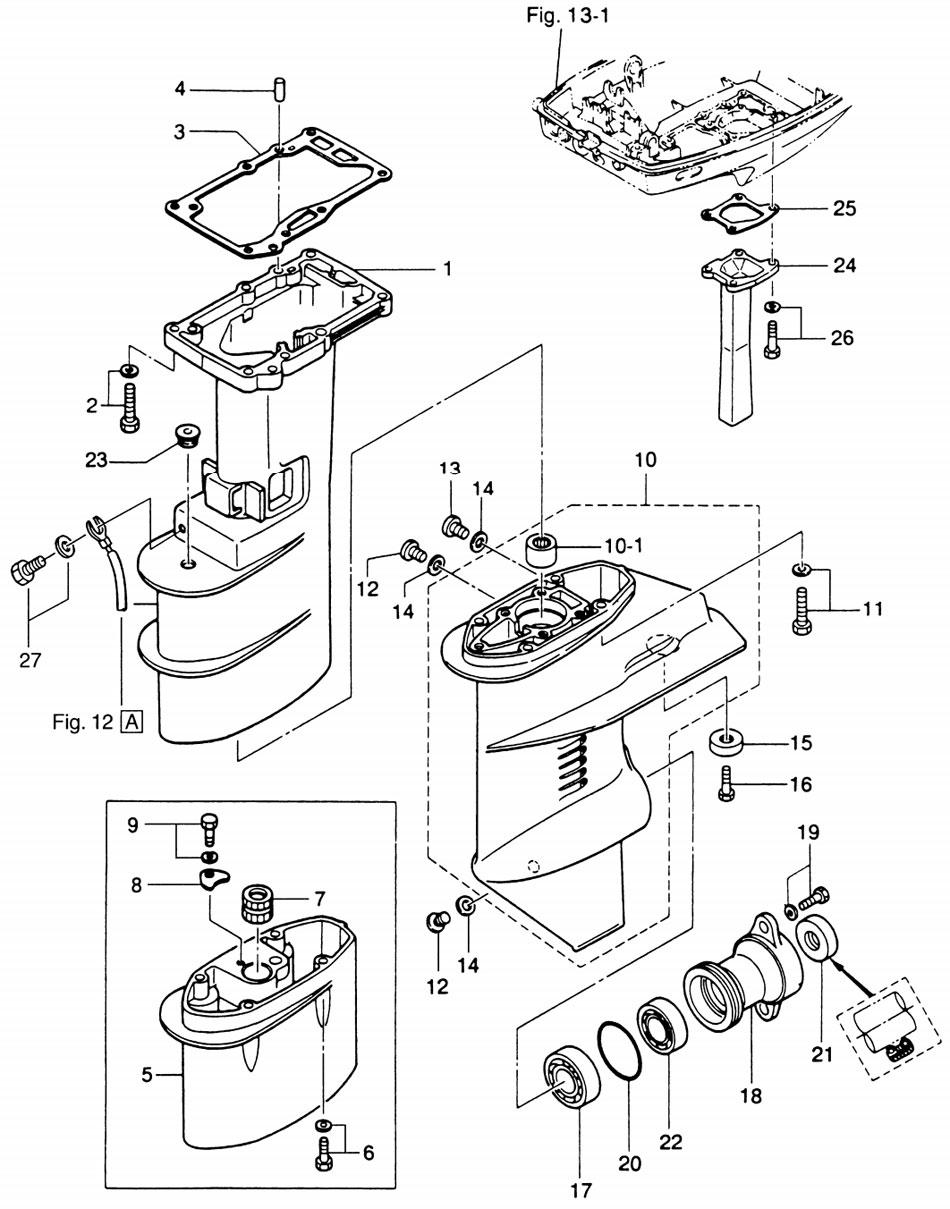 Удлиняющий кожух и коробка передач мотора Tohatsu M9.8B.