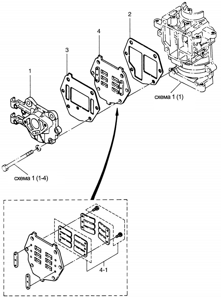Впускной клапан лодочного мотора Tohatsu M 9.8 B.