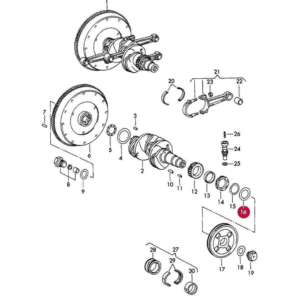 hight resolution of oil slinger front pulley 356 912