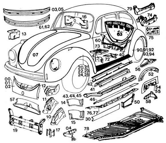 PartsPlaceInc.com: VW parts: Old Beetle Body Parts, Hoods