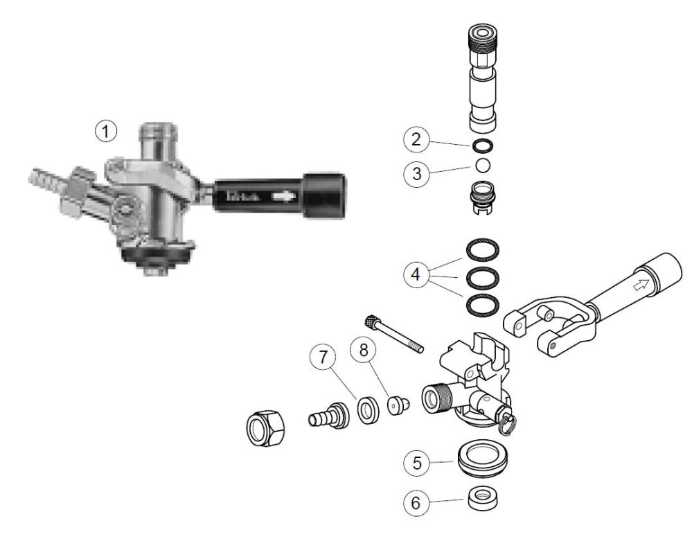 medium resolution of dr4kp single valve keg coupler parts list