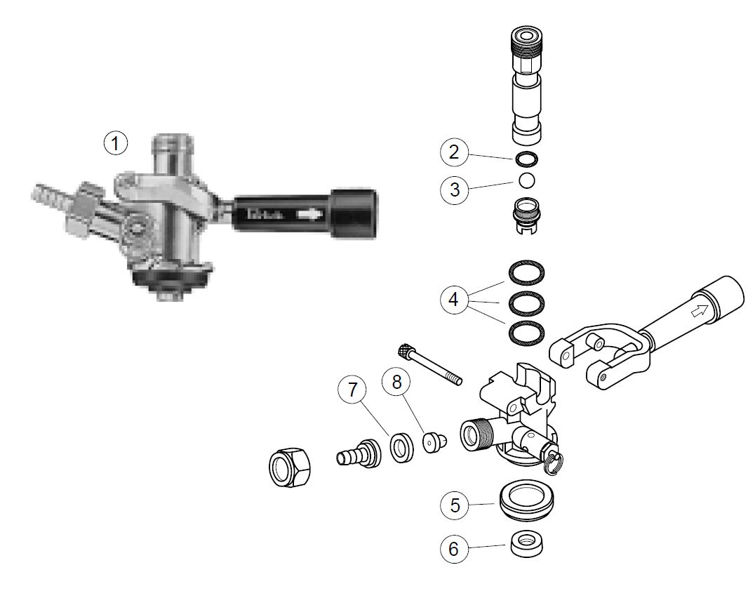hight resolution of dr4kp single valve keg coupler parts list