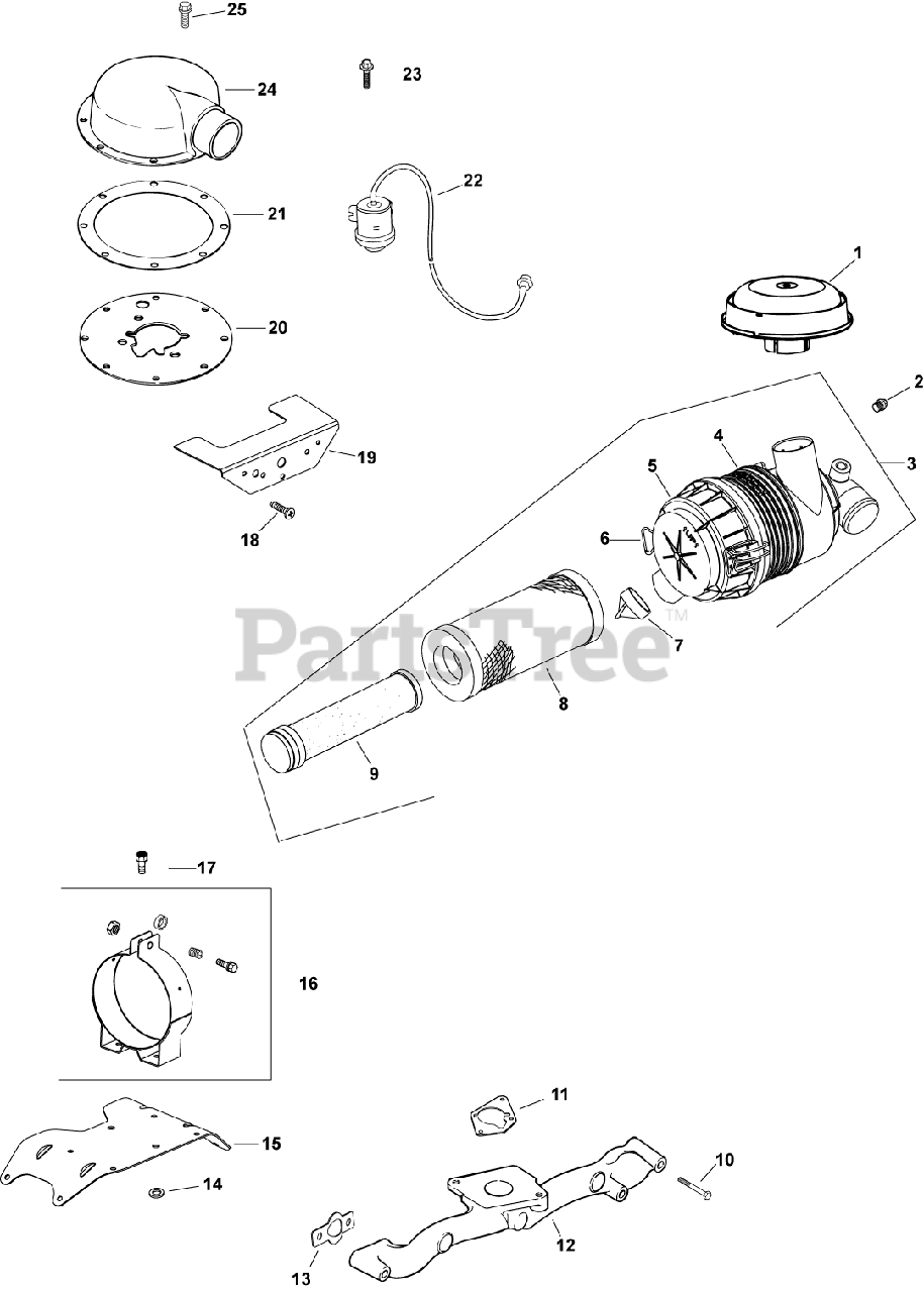 Kohler Parts on the Air Intake/Filtration Diagram for CH25
