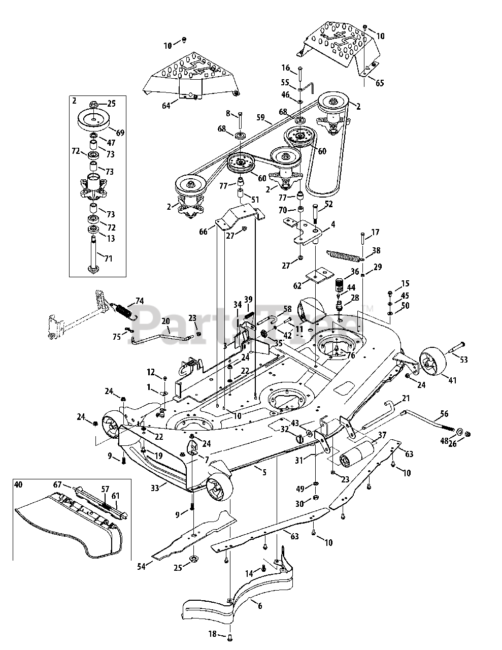 Cub Cadet Parts on the Mower Deck 54-Inch Diagram for LGTX