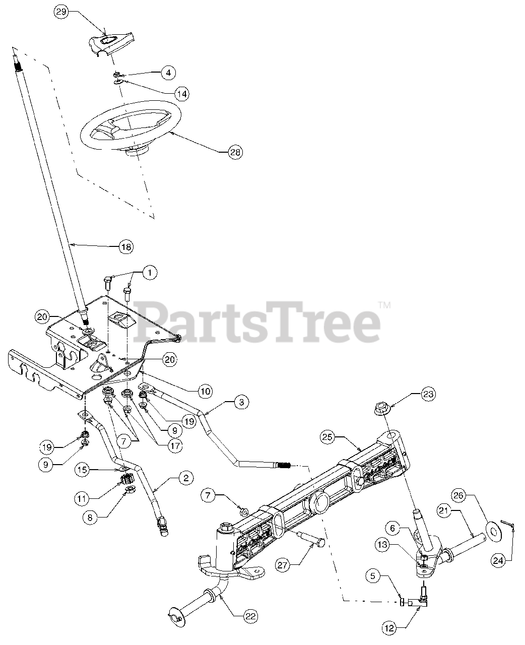 Cub Cadet Parts On The Steering Diagram For 13a