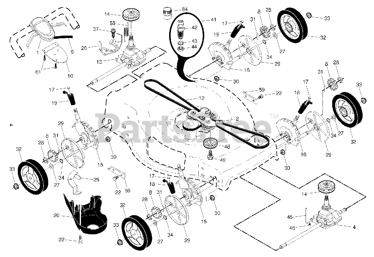 Husqvarna Parts on the DRIVE Diagram for HU 800 AWD