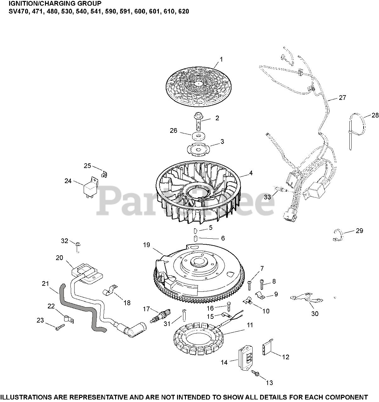 Kohler Parts on the Ignition/Charging SV470-620 Diagram