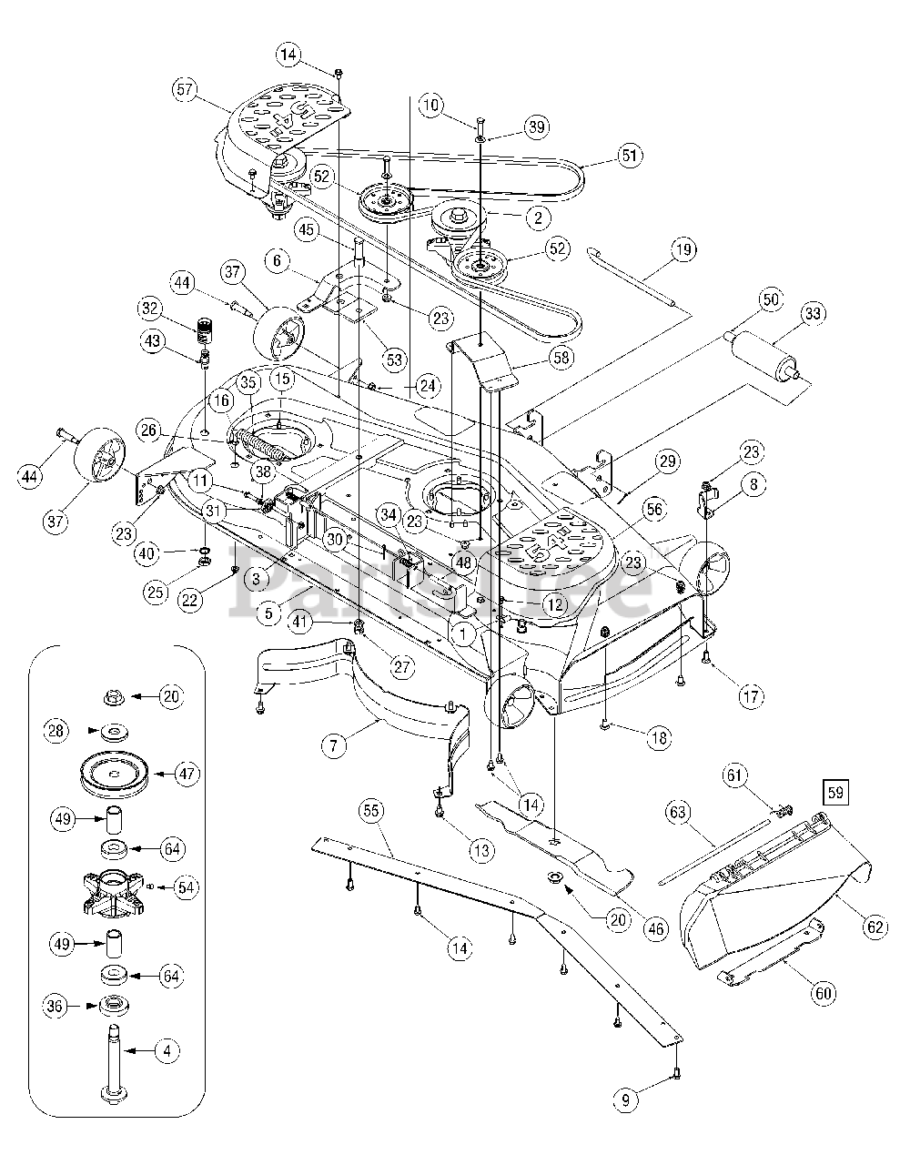 Cub Cadet Parts on the Mower Deck 54 inch Diagram for SLT