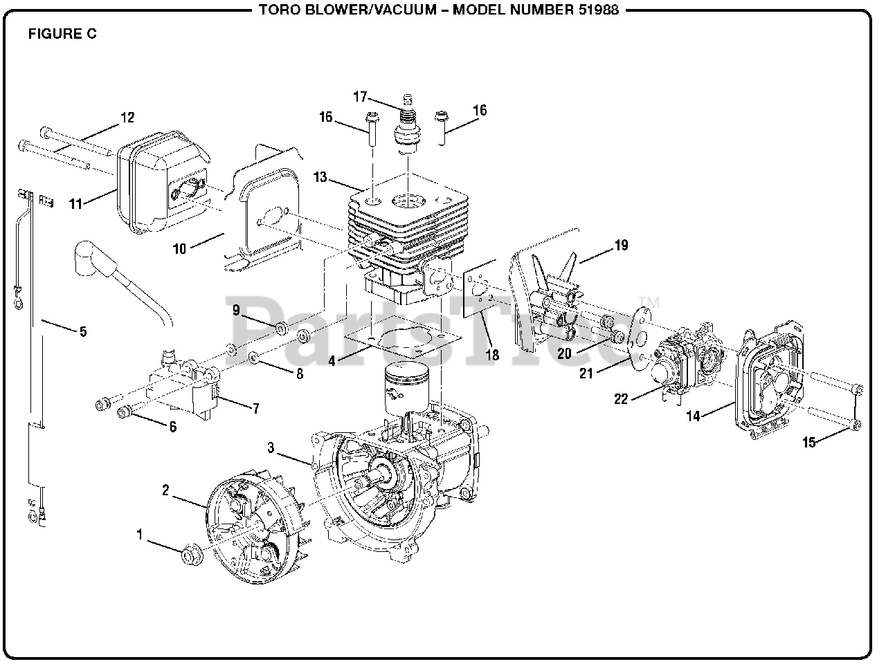 Toro Parts on the Figure C Diagram for 51988 (090157006