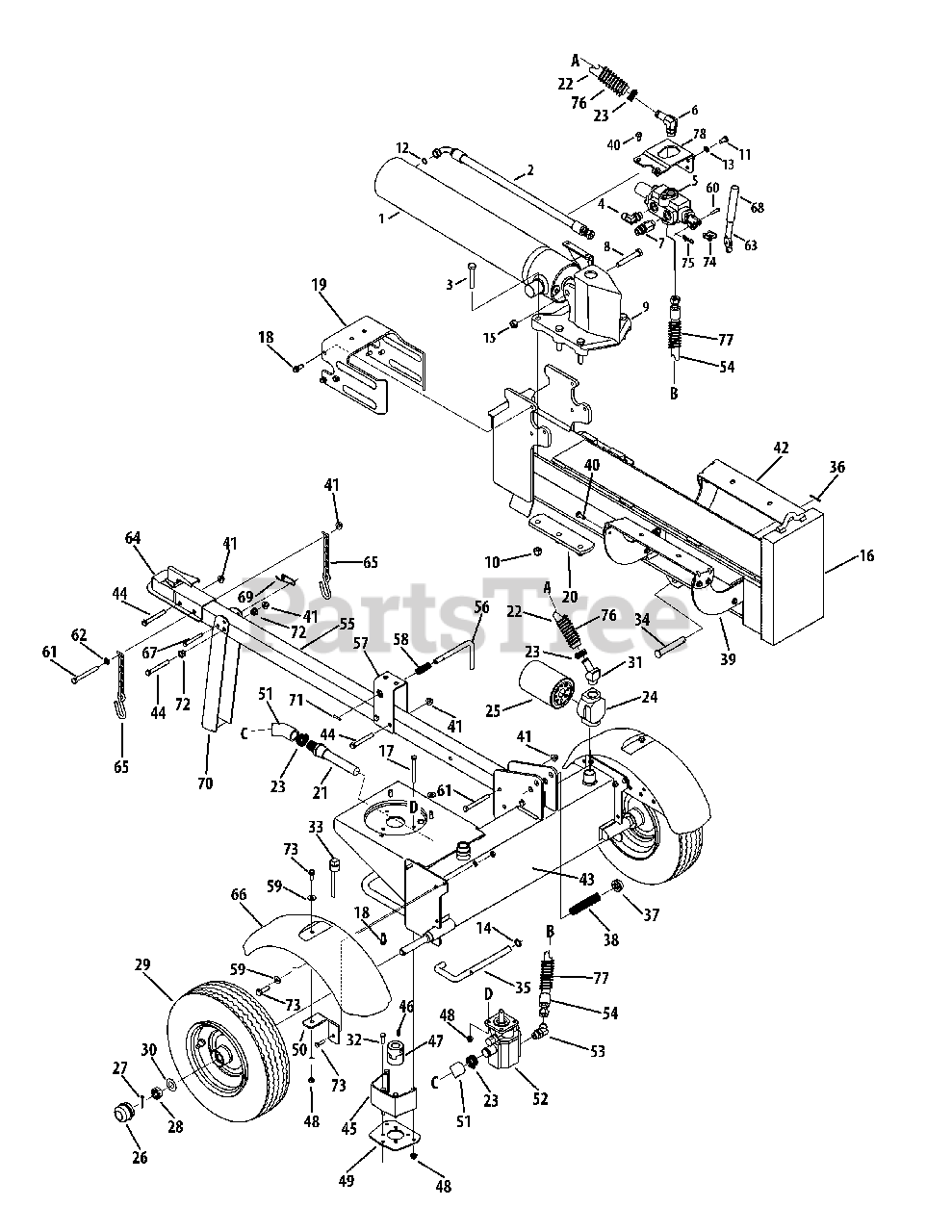 MTD Parts on the General Assembly Diagram for 24BF51MX704