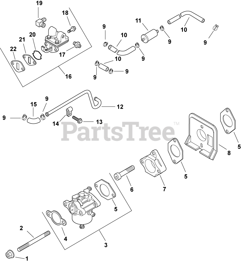 Kohler Parts on the Fuel System 8-27-244 Diagram for CH13