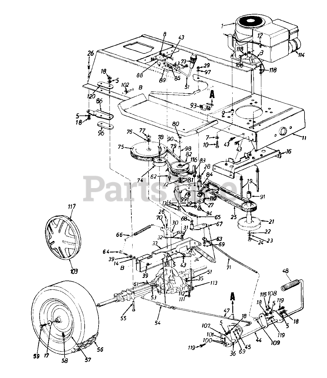 Mtd Parts On The Frame Lower Drive Pedal Assembly Wheels