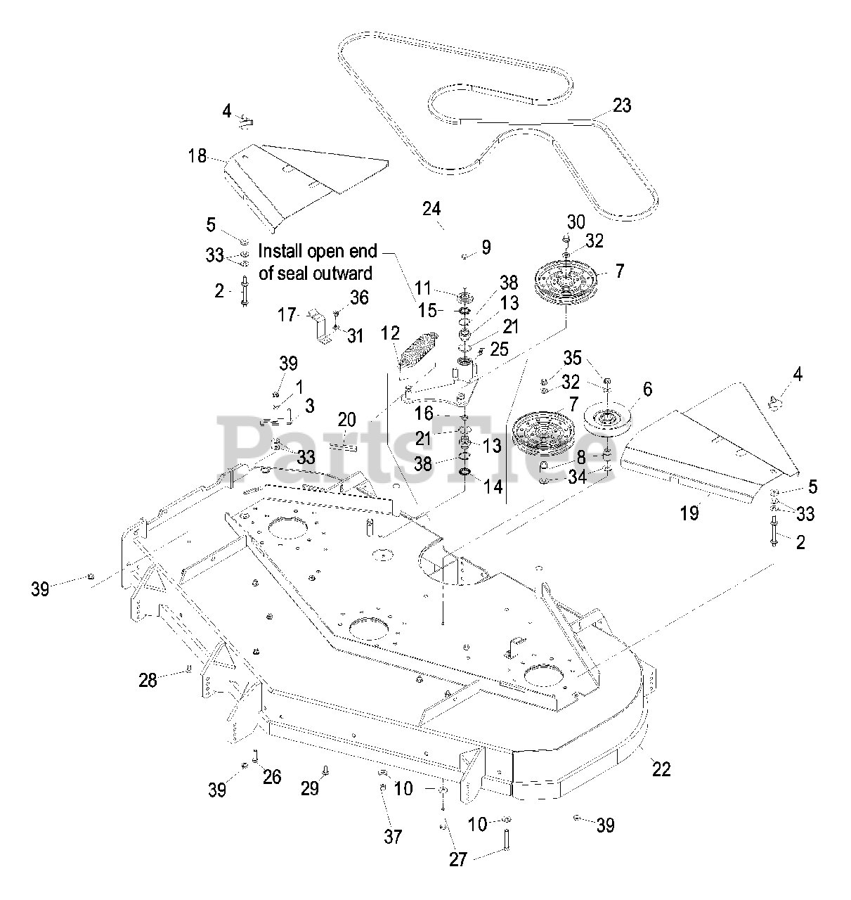 Exmark Parts on the Deck Group Diagram for LXS35BV725