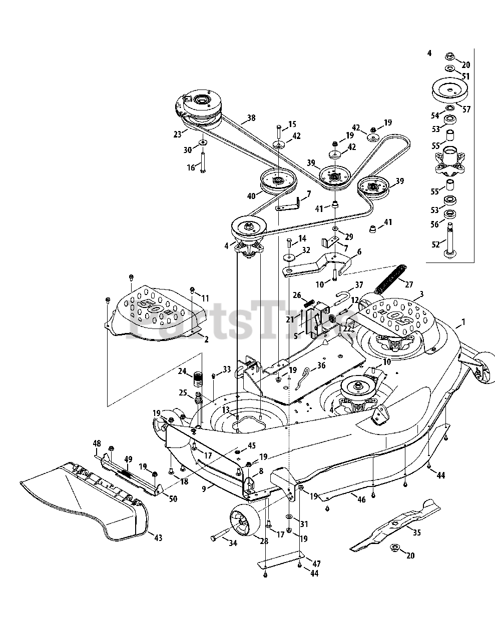 Troy-Bilt Parts on the Mower Deck 50-Inch Diagram for