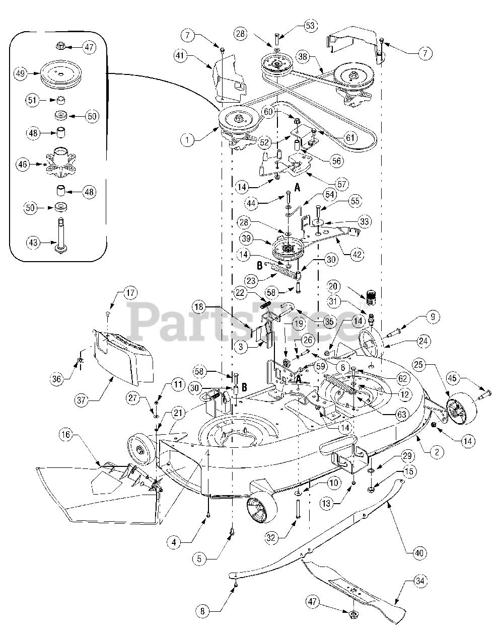 Cub Cadet Parts on the Mower Deck 42 inch 618-04461