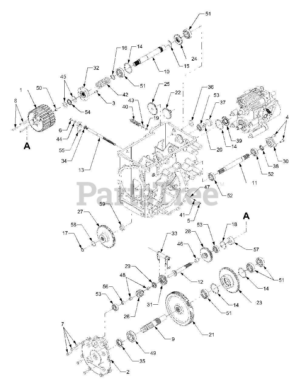 Cub Cadet Parts on the PTO Drive Diagram for 7254 (54AT742