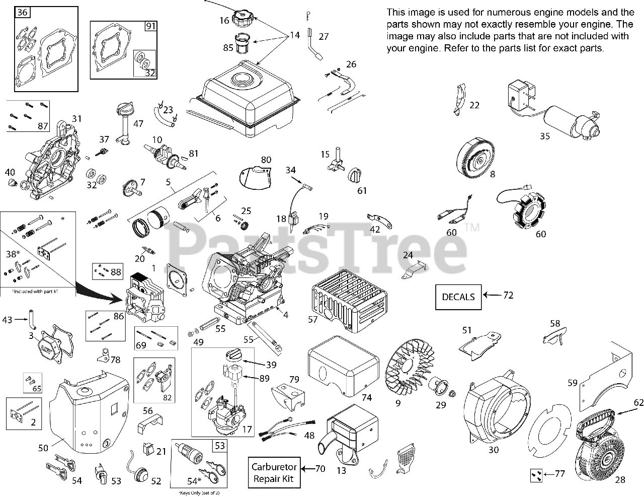 Ariens Parts on the Engine 08201239 Diagram for 920025