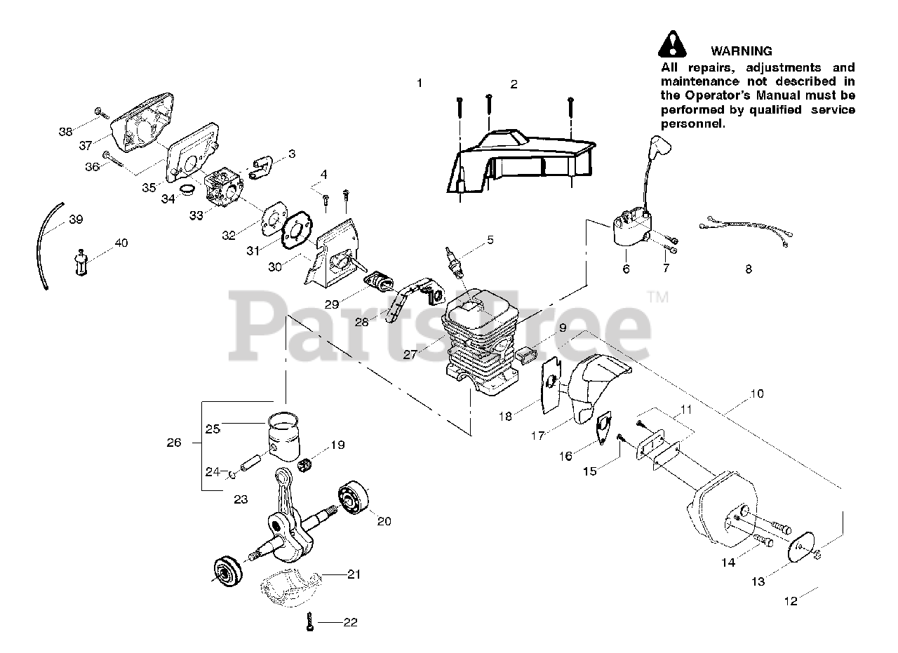 Poulan Pro Parts on the Engine Assembly Diagram for PP