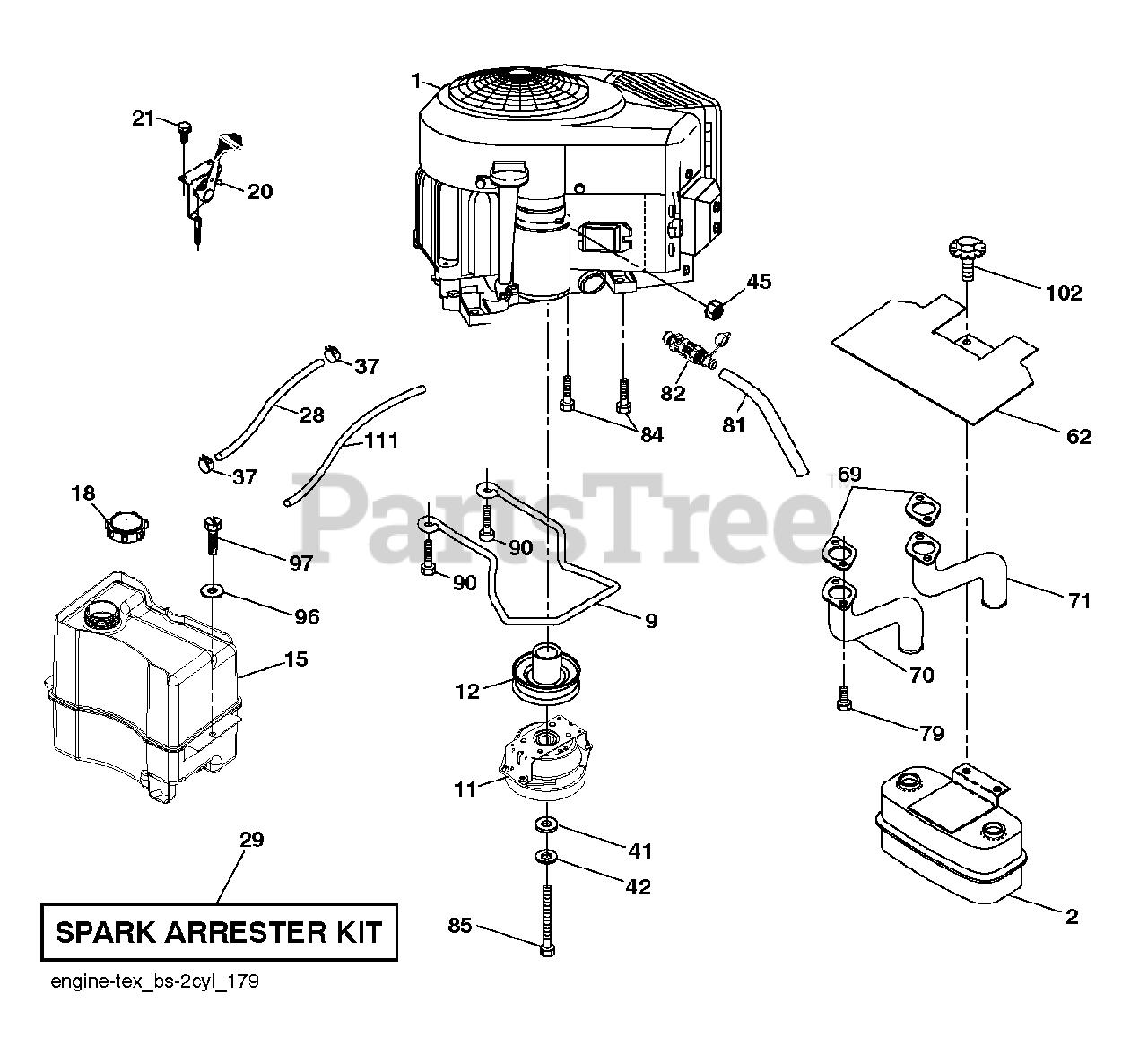 Husqvarna Parts On The Engine Diagram For Yth 24v48