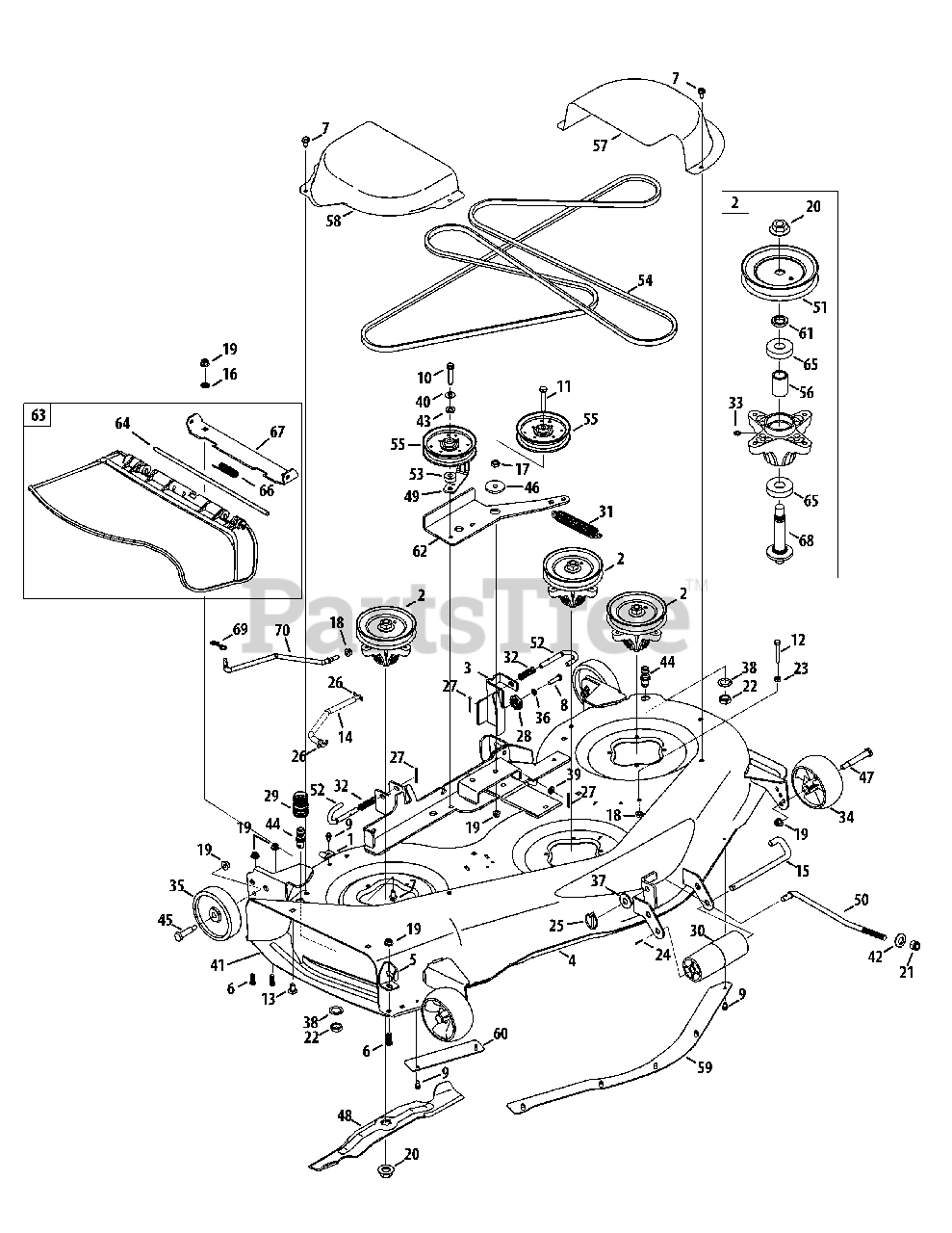 Cub Cadet Parts on the Mower Deck 50-inch Diagram for LTX